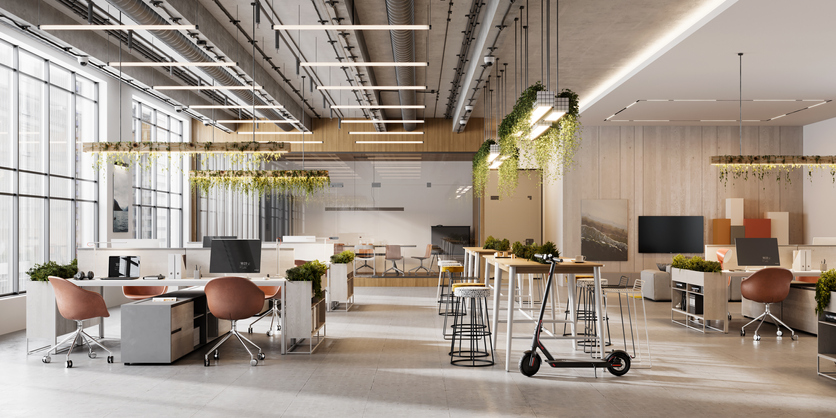 Oficina moderna iluminación patinete